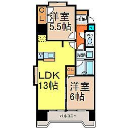 シャトー村瀬V[7階]の間取り