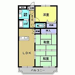 JR日豊本線 隼人駅 徒歩16分の賃貸マンション 3階3LDKの間取り