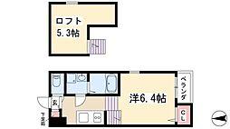 Yuu-Tao 姫宮町 2階1Kの間取り
