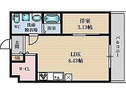 プランタン上新庄 3階1LDKの間取り
