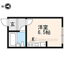 JR山陰本線 太秦駅 徒歩10分の賃貸アパート 1階ワンルームの間取り
