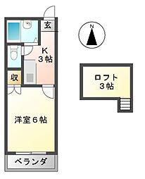 ソレアード藤江[2階]の間取り
