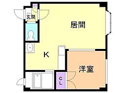 セントポーリア六番館 3階1LDKの間取り