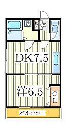 スタジオ北柏2[2階]の間取り