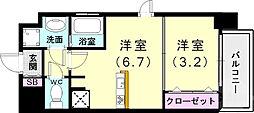 SOAR SINNAGATA 9階1DKの間取り