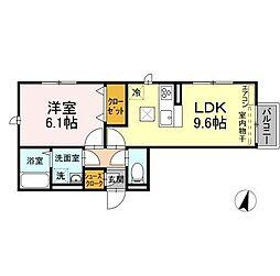 仮)D-roomよしわらB 1階1LDKの間取り