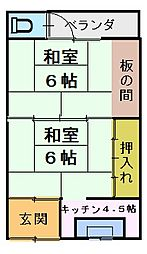 第五文化[2階右2号室]の間取り
