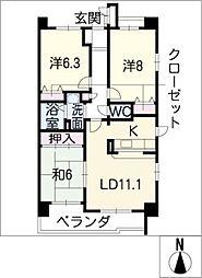 サンコート桃花台 B棟[2階]の間取り
