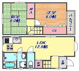 田中町3丁目戸建[1-2号室]の間取り