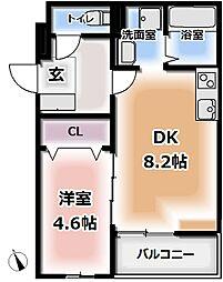 グランパシフィック萱島II 2階1DKの間取り