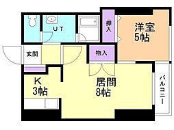 小田ビル  セフティーライフ 2階1LDKの間取り