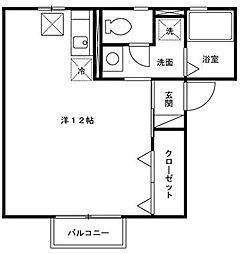 愛知県岡崎市赤渋町字上河原の賃貸アパートの間取り