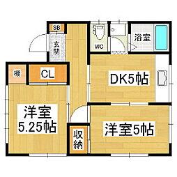 木下アパート[3階]の間取り