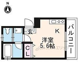 京阪本線 伏見稲荷駅 徒歩2分の賃貸アパート 2階ワンルームの間取り