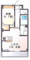新築物件 カウンターキッチン付の日当たりの良いお部屋です。 1階1LDKの間取り