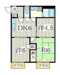 千葉県柏市千代田2丁目の賃貸アパートの間取り