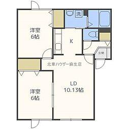 北海道札幌市北区屯田六条3丁目の賃貸アパートの間取り