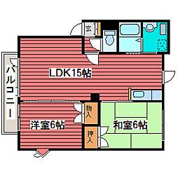 オブザーコート1−8A[1階]の間取り