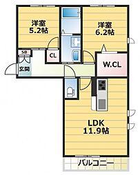 シャーメゾン コンフォート八戸ノ里A[2階]の間取り