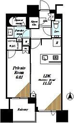 ドゥ・トゥール 47階1LDKの間取り