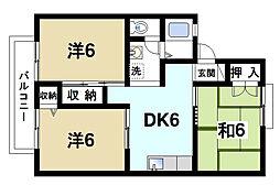 奈良県奈良市学園中3丁目の賃貸アパートの間取り