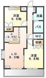 岡山県岡山市中区高屋丁目なしの賃貸アパートの間取り