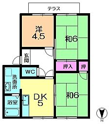 奈良県奈良市左京3丁目の賃貸アパートの間取り