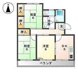 愛知県弥富市前ケ須町東勘助の賃貸マンションの間取り