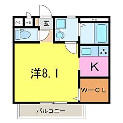 井ヶ谷町1K共同住宅[202号室]の間取り