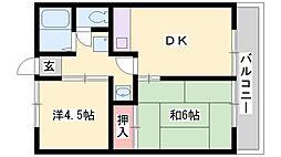 兵庫県加古川市別府町新野辺北町8丁目の賃貸アパートの間取り