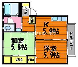 岡山県総社市井手丁目なしの賃貸アパートの間取り
