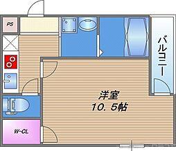 フジパレス深江橋イースト 1階1Kの間取り