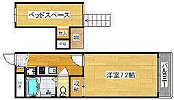 Osaka Metro御堂筋線 北花田駅 徒歩5分の賃貸マンション 2階1Kの間取り