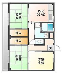 ビレッジハウス迎田4号棟[4階]の間取り