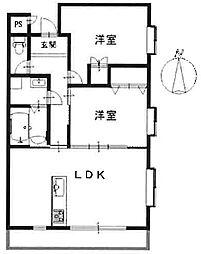 レインボー甲東[2階]の間取り