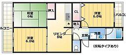 エクレール平川 A棟[302号室]の間取り