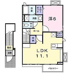 福岡県北九州市八幡西区北筑2丁目の賃貸アパートの間取り