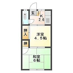 伊倉荘 大里[3号室]の間取り