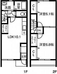 [テラスハウス] 茨城県稲敷郡阿見町中央3丁目 の賃貸【/】の間取り