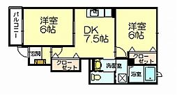 福岡県糟屋郡志免町王子4の賃貸アパートの間取り