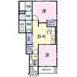 埼玉県熊谷市柴の賃貸アパートの間取り