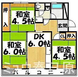 福岡県大野城市下大利団地の賃貸マンションの間取り