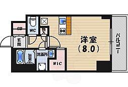 阪神本線 西宮駅 徒歩2分の賃貸マンション 6階ワンルームの間取り