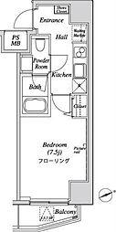 都営三田線 芝公園駅 徒歩9分の賃貸マンション 8階1Kの間取り