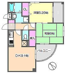 メゾンドゥフレール 3-G[2階]の間取り