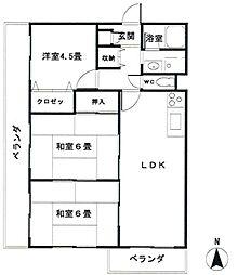 大阪府池田市綾羽2丁目の賃貸マンションの間取り
