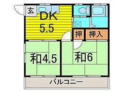 平田ハイツ[102号室]の間取り