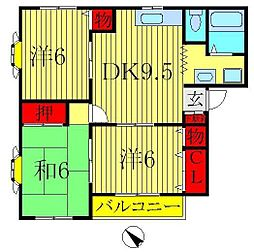 ソレイウ・ド・須賀[2階]の間取り