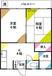 七鈴コーポ[205号室]の間取り