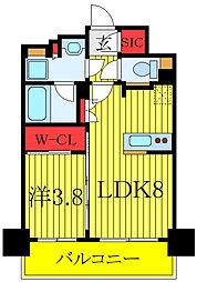 都営三田線 板橋区役所前駅 徒歩5分の賃貸マンション 14階1LDKの間取り